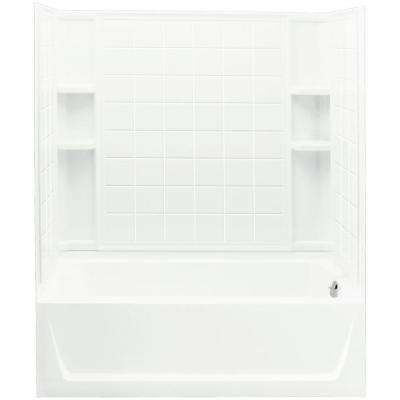 Ensemble 32 in. x 60 in. x 77-1/4 in. Bath and Shower Kit Right Drain in White with Above-Floor Drain and Backer Board