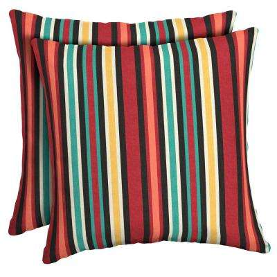 16 in. x 16 in. Ruby Abella Stripe Square Outdoor Throw Pillow (2-Pack)