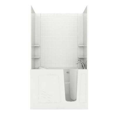Rampart 4.5 ft. Walk-in Air Bathtub with 4 in. Tile Easy Up Adhesive Wall Surround in White