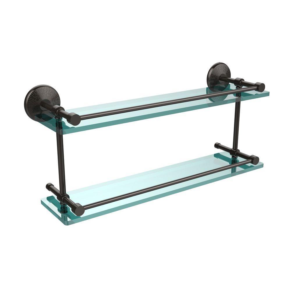 Monte Carlo 22 in. L  x 8 in. H  x 5 in. W 2-Tier Clear Glass Bathroom Shelf with Gallery Rail in Oil Rubbed Bronze