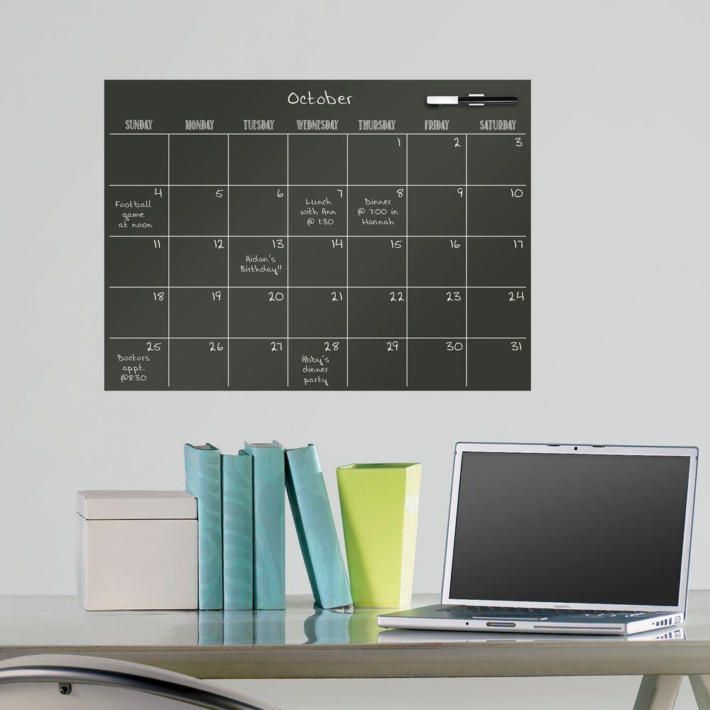 17.5 in. x 24 in. Calendar Wall Decal in Black