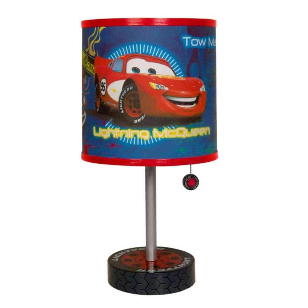 Disney 18 in. Cars Table Stainless Steel Lamp with Decorative Shade-DISCONTINUED