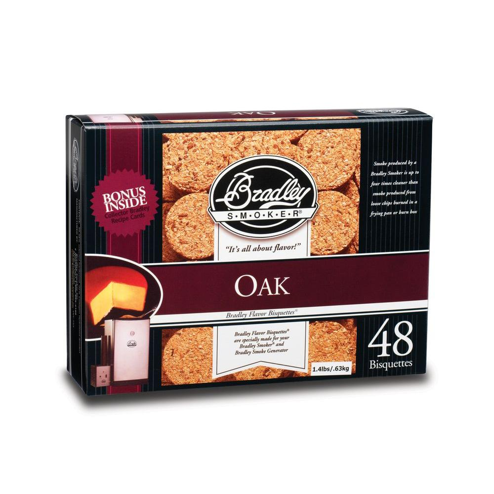 Bradley Smoker Oak Flavor Bisquettes (48-Pack) A Bradley smoker burns the Bradley Smoker Oak Briquettes (48-Pack) once every 20 minutes to produce a clean, cool smoky flavor that makes your food taste delicious. These briquettes burn only to the charcoal stage so tars and resins don't get into your food.