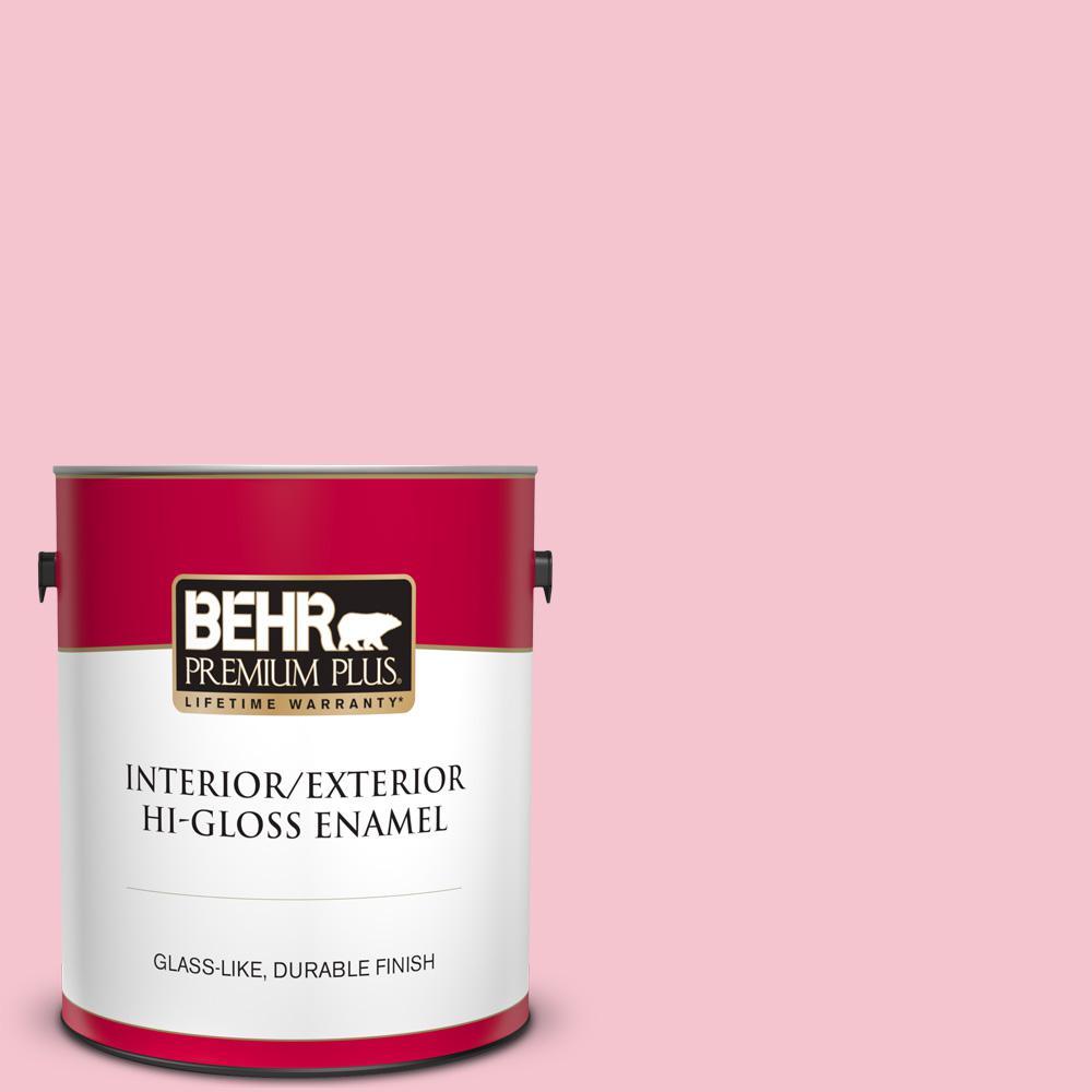Behr Premium Plus 1 Gal P150 2 Energetic Pink Hi Gloss Enamel Interior Exterior Paint 805001 The Home Depot