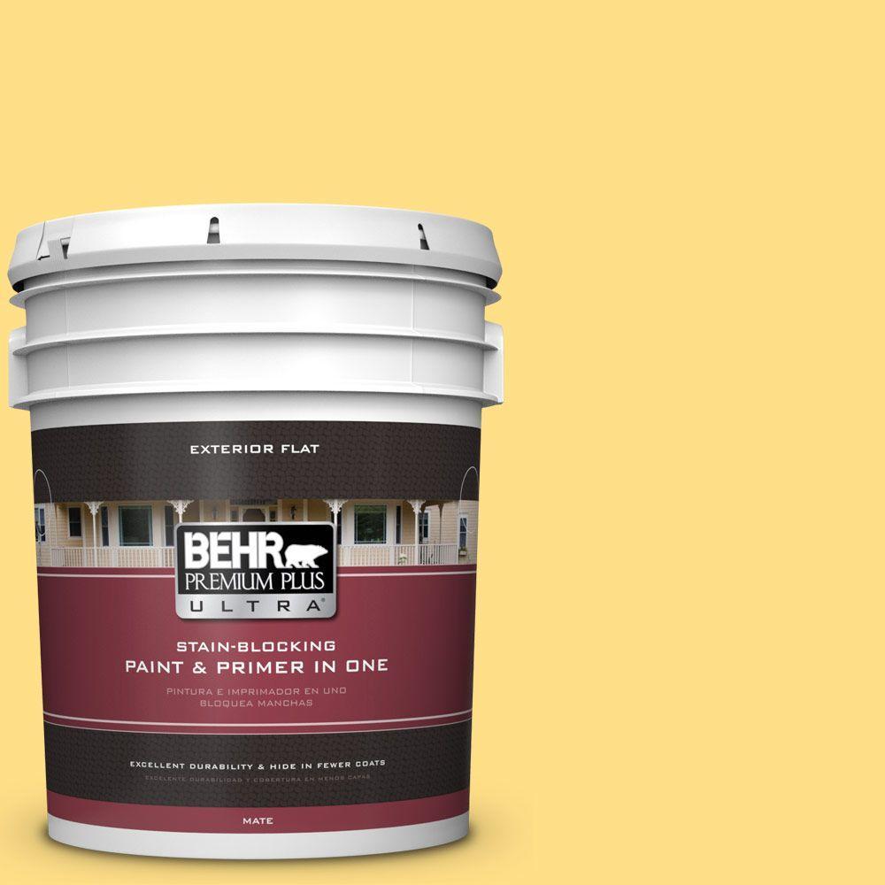 BEHR Premium Plus Ultra 5-gal. #360B-4 Sweet Chamomile Flat Exterior Paint
