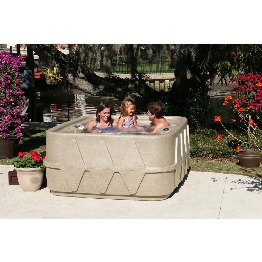 AR-400 4-Person Spa with 14 Jet in Stainless Steel, Easy Plug-N-Play