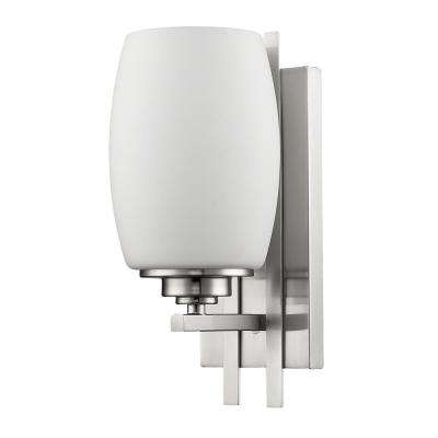 Sophia 1-Light Satin Nickel Sconce with Frosted Glass Shade