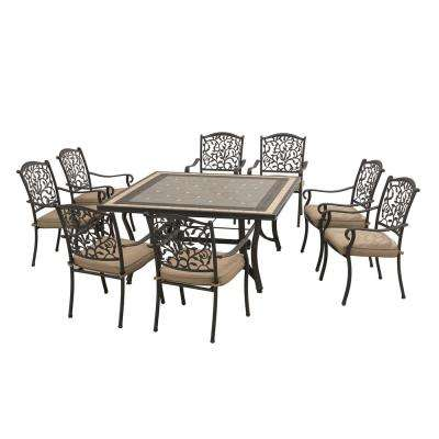 Legacy 9-Piece Patio Dining Set with Beige Cushions