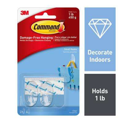 Small Clear Hooks with Clear Strips (2-Pack)