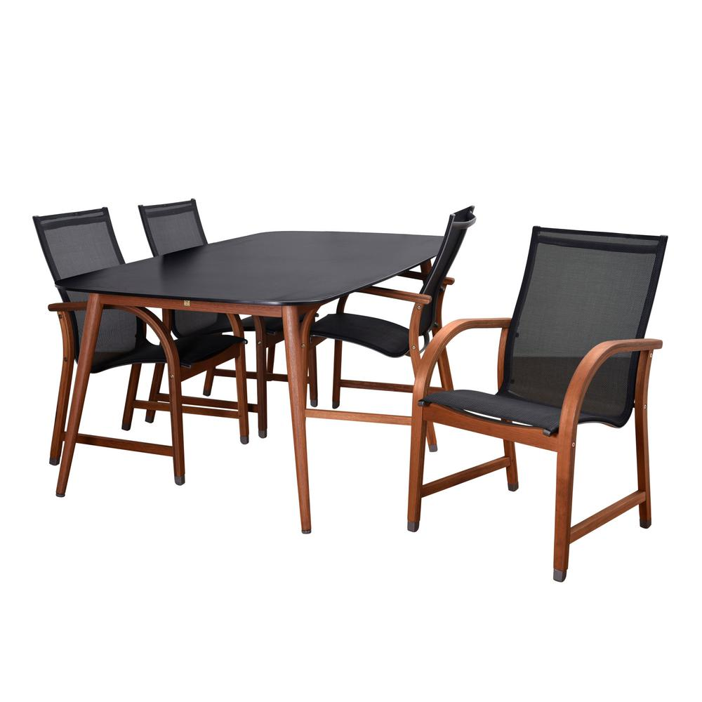 Carilo 5-Piece Eucalyptus Rectangular Patio Dining Set