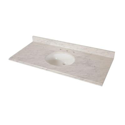 49 in. x 22 in. Stone Effects Vanity Top in Cascade with White Sink
