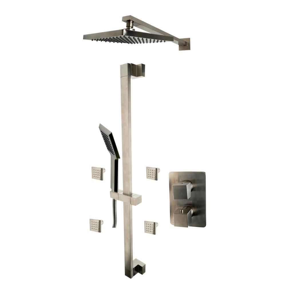 ALFI BRAND 1-Spray Dual Showerhead and Handheld Showerhead with Body Sprays in Brushed Nickel