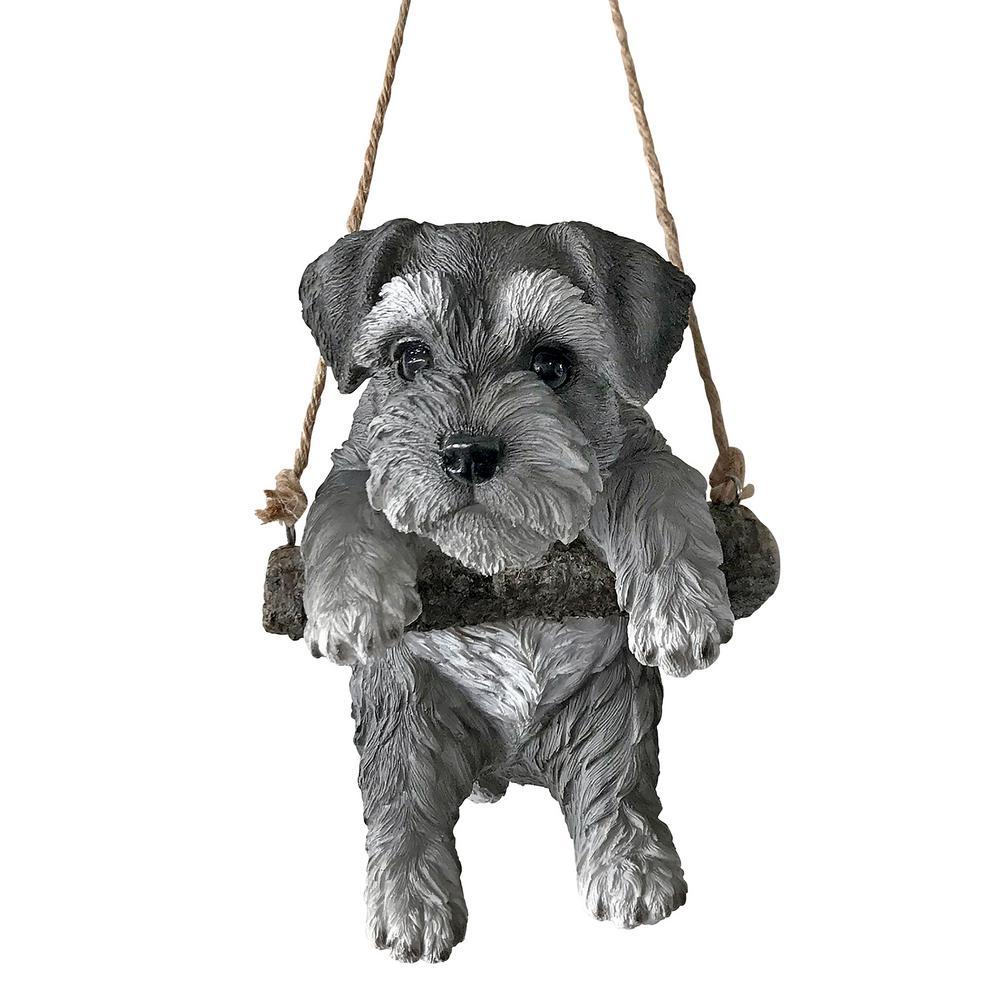 8 in. H Mini Schnauzer Puppy on a Perch Hanging Dog Sculpture