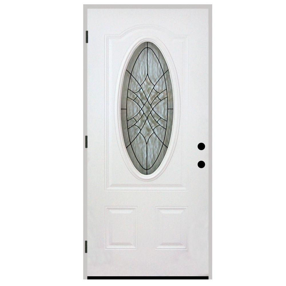 StevesSons Steves & Sons 32 in. x 80 in. Webville Oval Lite 2-Panel Primed White Steel Prehung Front Door, White Primed