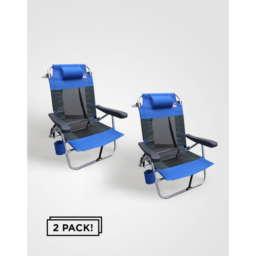 Outdoor Spectator Multi-Position Backpack Beach Chair (2-Pack)