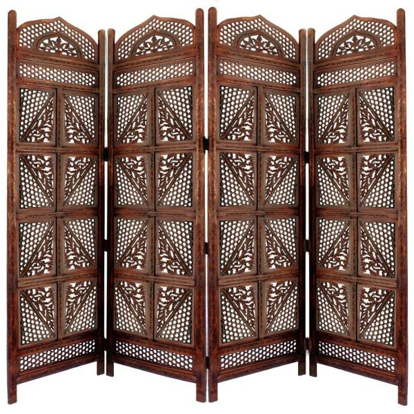 Benzara Hand Carved Four Panel 5 Ft 9 In White Wooden Room Divider With Shelving Unit Upt 195271 The Home Depot