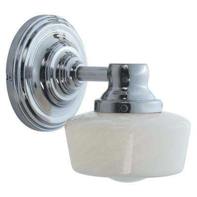 1-Light Chrome Bath Sconce with White Glass
