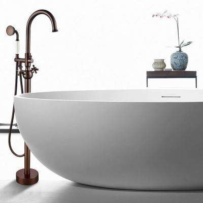 48 in. H x 12 in. W Single-Handle Claw Foot Tub Faucet with Hand Shower in Oil Rubbed Bronze