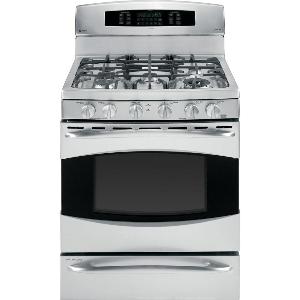 GE Profile 6.4 cu. ft. Gas Range with Self-Cleaning Convection Oven in Stainless Steel
