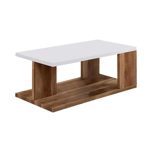 Hyatt White and Natural Tone Coffee Table