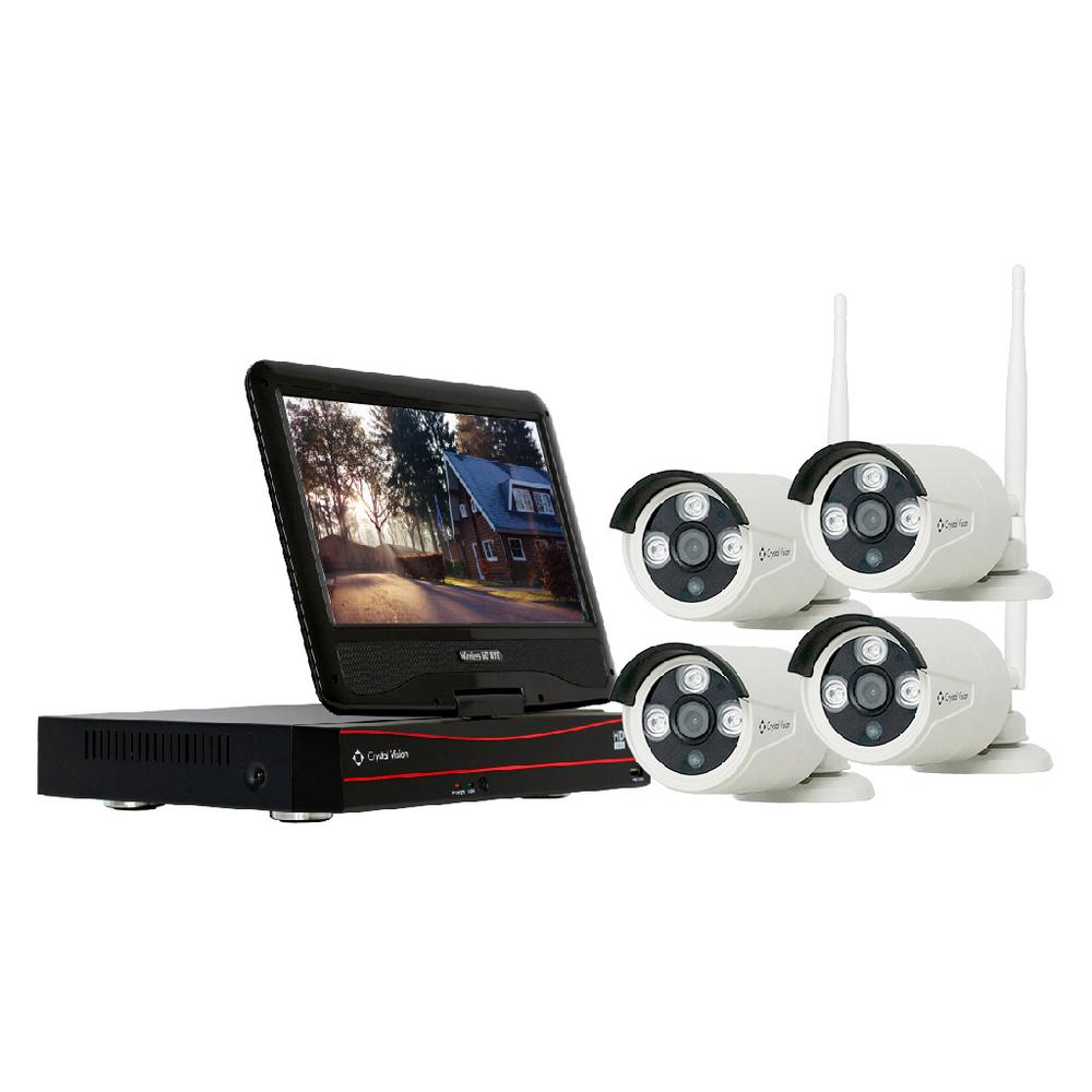 Crystal Vision 4-Channel Wireless 1080p Full HD 2MP 2TB Hard Drive Surveillance System with 10 in. Monitor Weatherproof IR Cameras