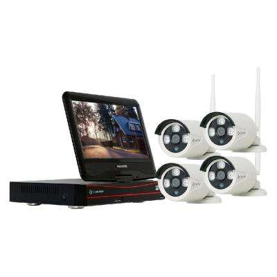 4-Channel Wireless 1080p Full HD 2MP 2TB Hard Drive Surveillance System with 10 in. Monitor Weatherproof IR Cameras