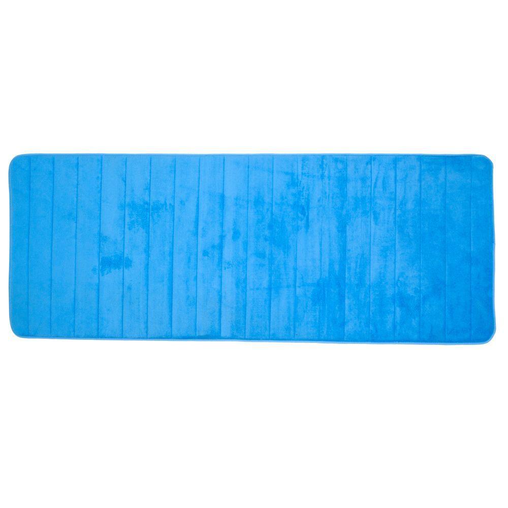 Blue 24.25 in. x 60 in. Memory Foam Striped Extra Long Bath Mat