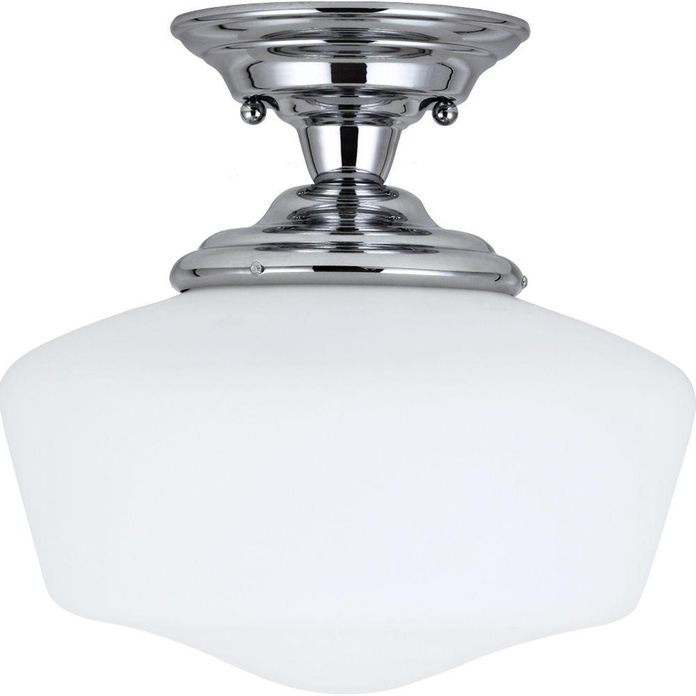 Sea Gull Lighting Academy 1-Light Chrome Semi-Flush Mount...