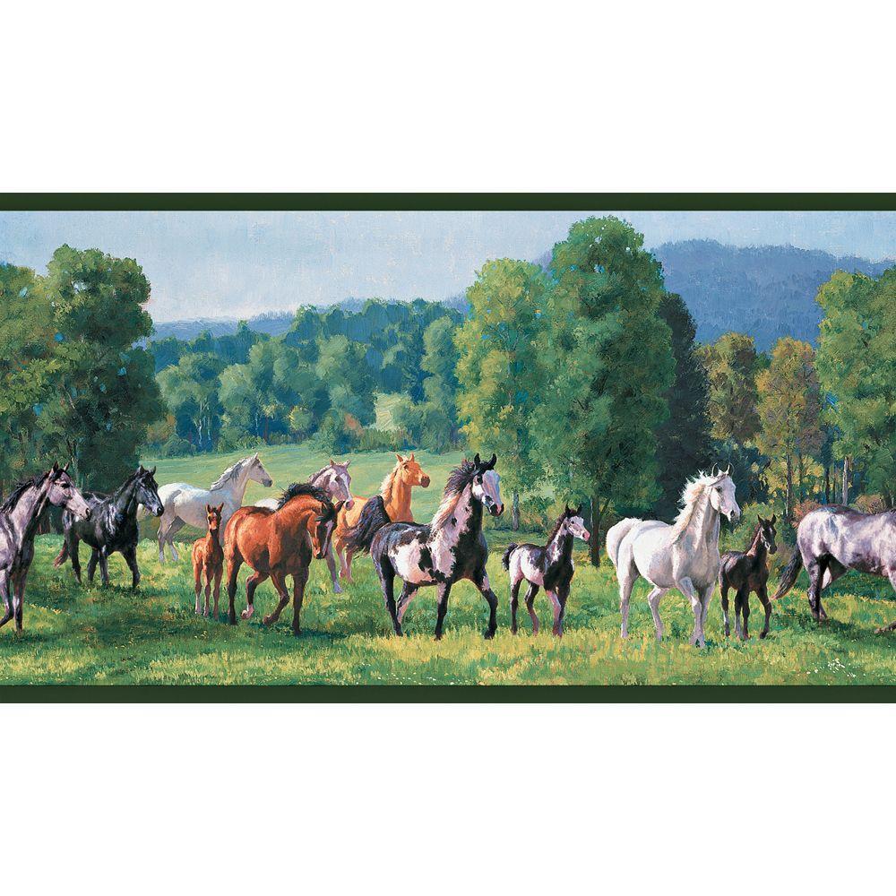 The Wallpaper Company 10.25 in. x 15 ft. Jewel Tone Wild Horses Border