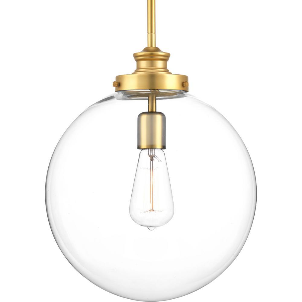 Progress Lighting Penn 1-Light Natural Brass Large Pendant with Clear Glass