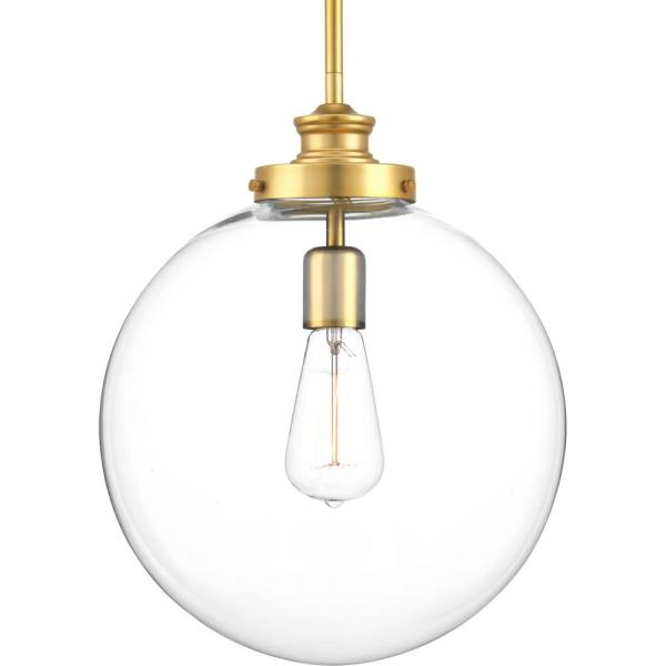 Progress Lighting - Penn 1-Light Natural Brass Large Pendant with Clear Glass