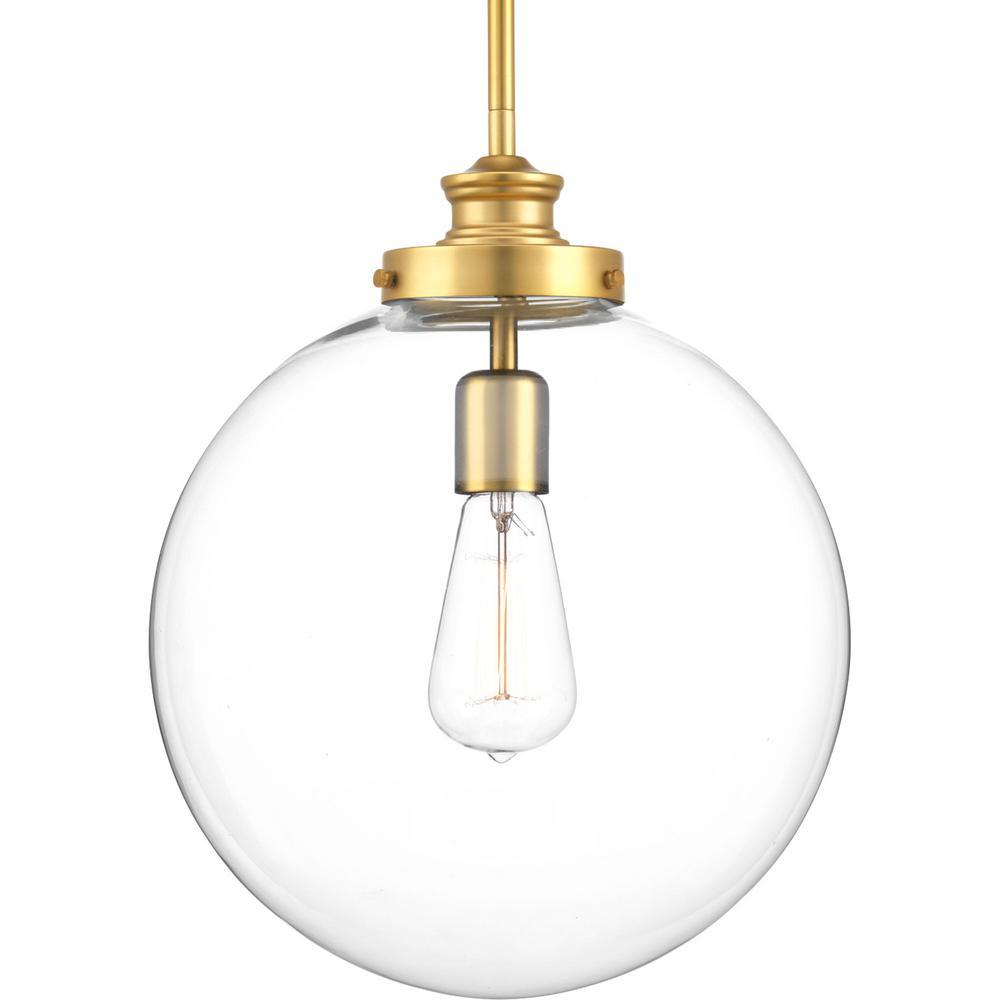 Penn Collection 1 Light Natural Brass Large Pendant With Clear Glass