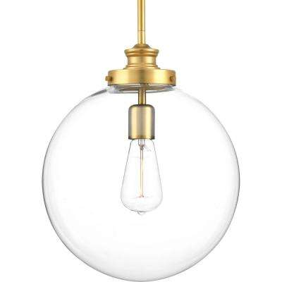 Penn Collection 1-Light Natural Brass Large Pendant with Clear Glass