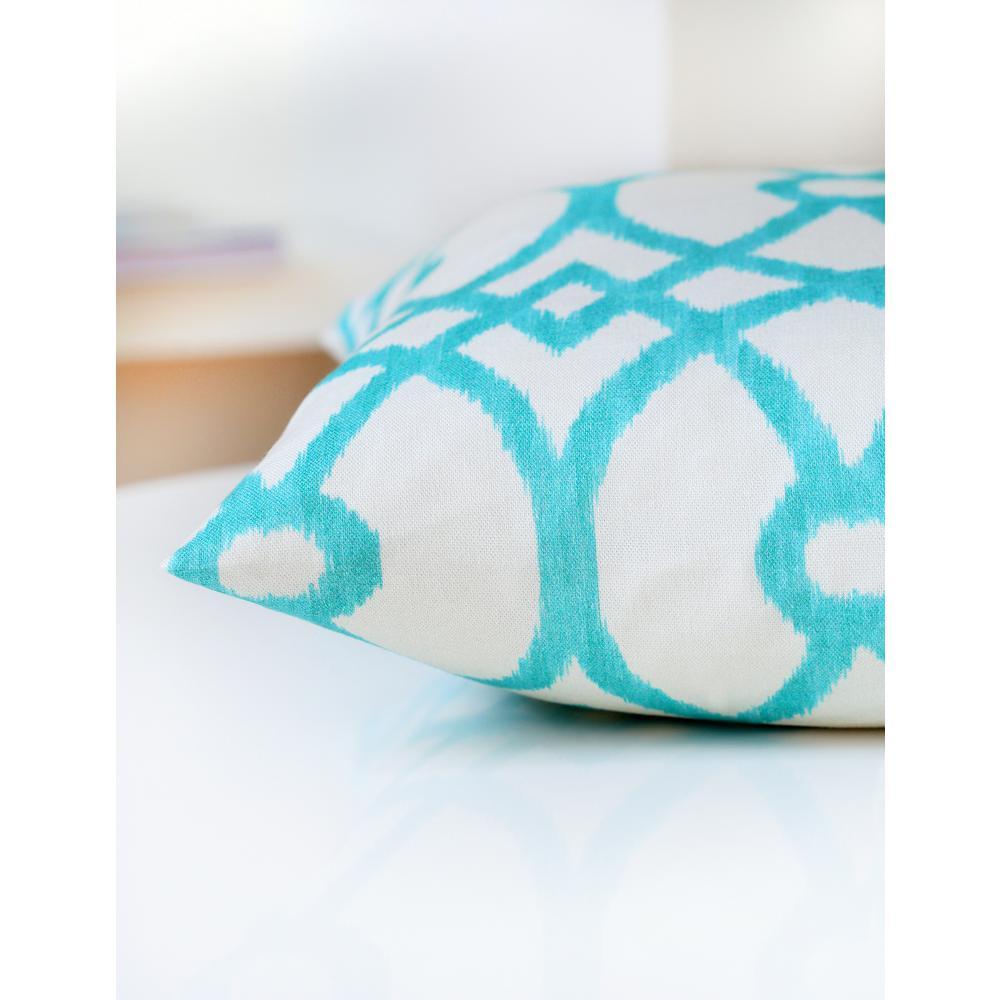 Piper 18 in. x 18 in. Aqua Decorative Pillow (2-Pack)