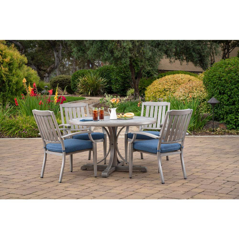 Merveilleux Foremost Casual Tanglewood 5 Piece Aluminum Outdoor Dining Set With Texture  Blue Cushions