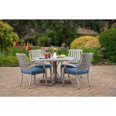 Tanglewood 5-Piece Aluminum Outdoor Dining Set with Texture Blue Cushions