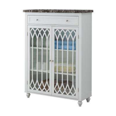 36 in. W x 48 in. H Valleta White Wood and Glass Free-Standing Bathroom Cabinet