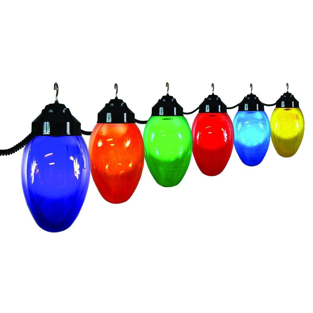6-Light Outdoor Holiday String Light Set of Assorted Color and Black