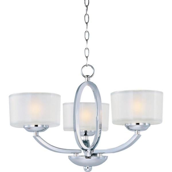 Polished Chrome and White Glass 3 Arm Semi Flush Ceiling Light Fitting Chandelie