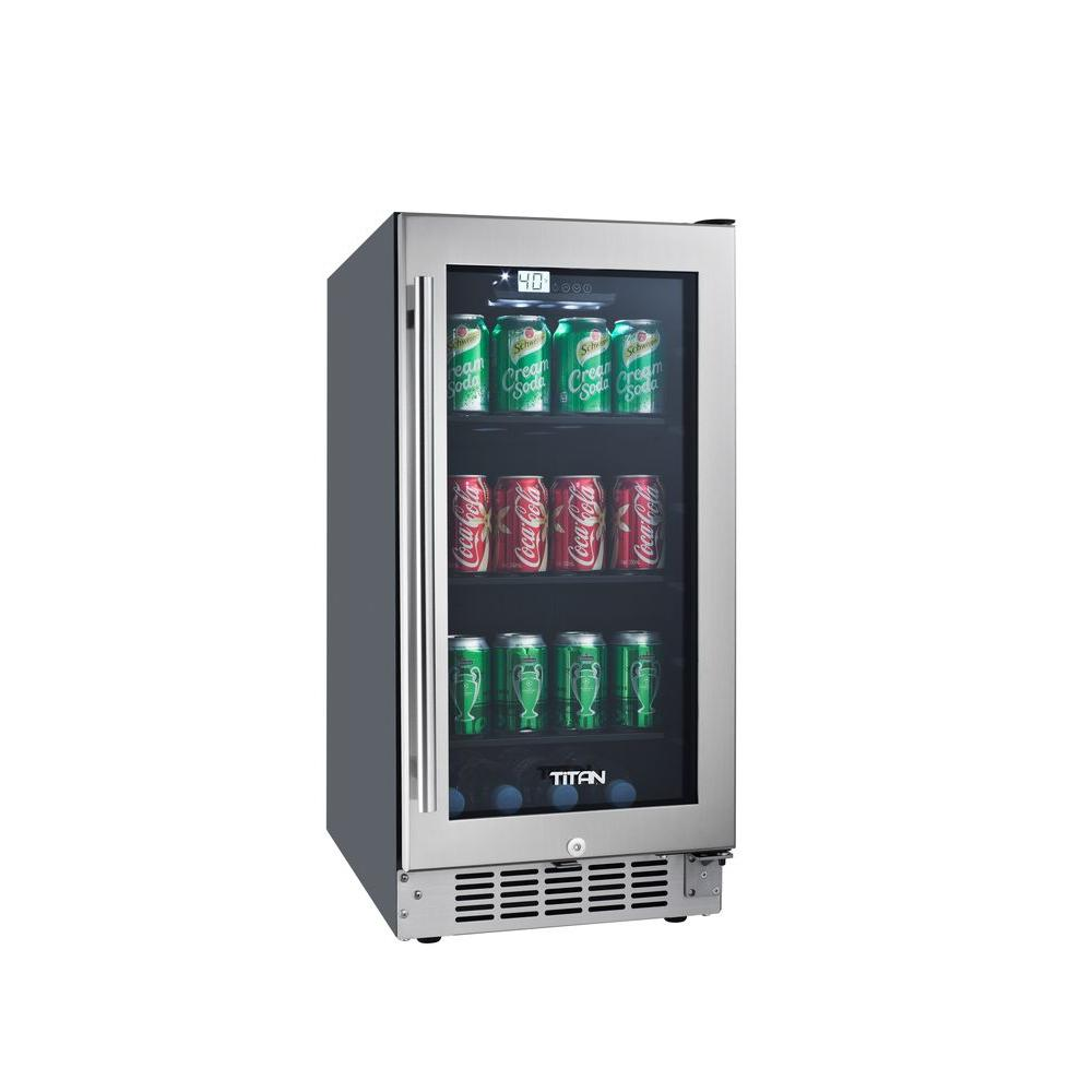 TITAN 15 in. 80-Can Seamless Stainless Steel Built-In Beverage Cooler