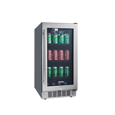 15 in. 45-Bottle Wine and 80-Can Seamless Stainless Steel Built-In Beverage Cooler