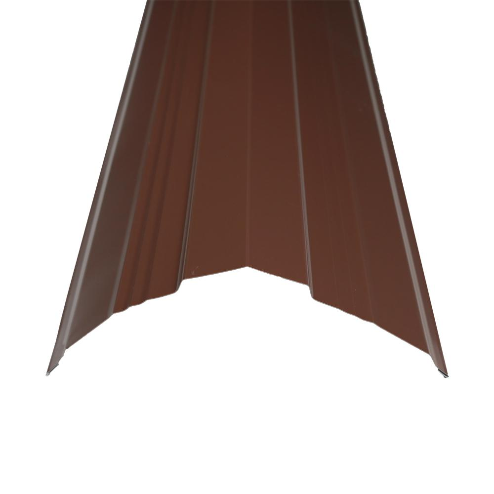 10.5 ft. x 14 in. Brown Steel Universal Ridge Cap