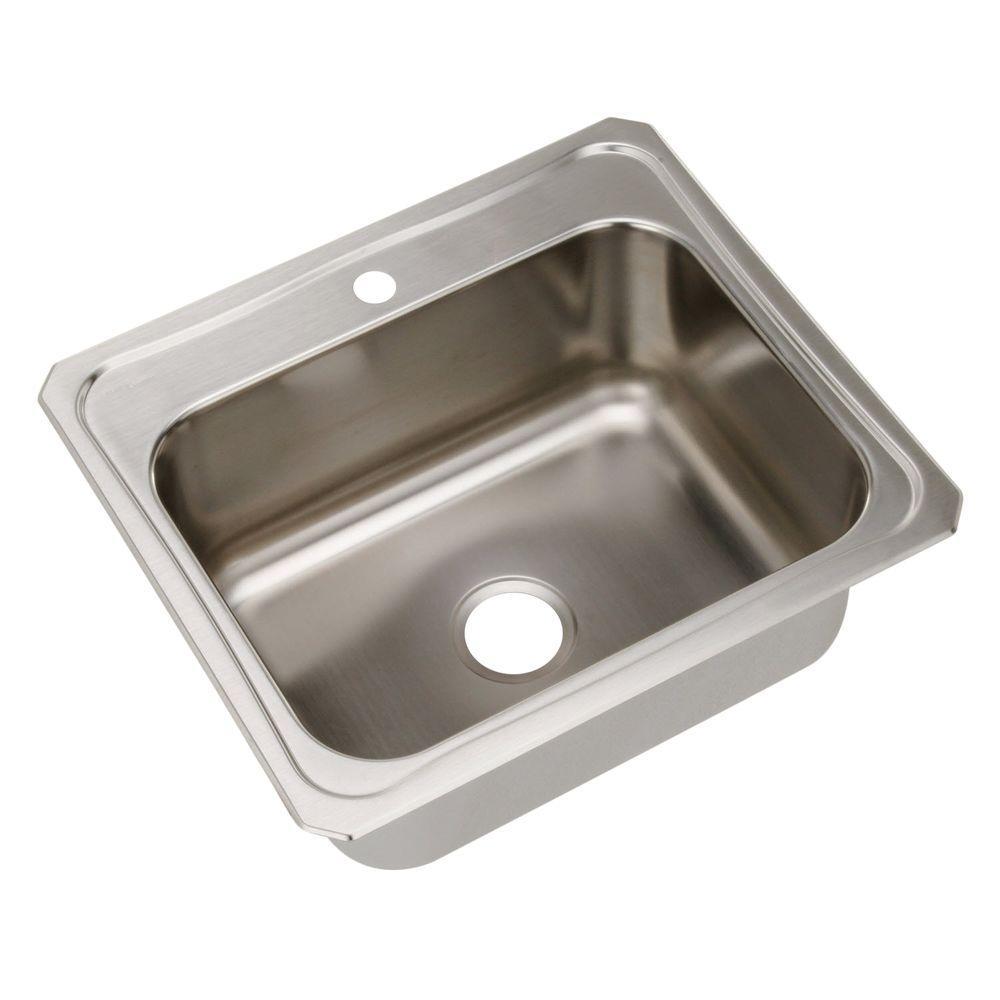 Elkay celebrity drop in stainless steel 25 in 1 hole single bowl kitchen