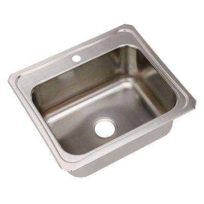 Celebrity Drop-In Stainless Steel 25 in. 1-Hole Single Bowl Kitchen Sink with 10.5 in. Bowl
