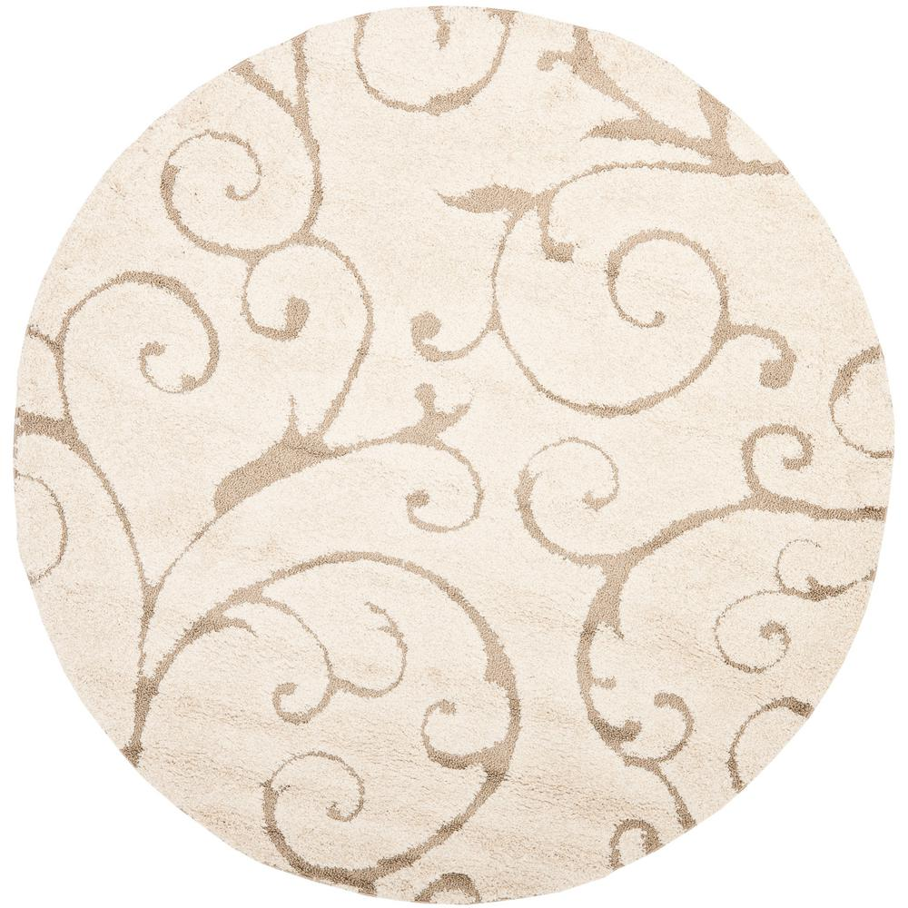 Florida Shag Cream/Beige 8 ft. x 8 ft. Round Area Rug
