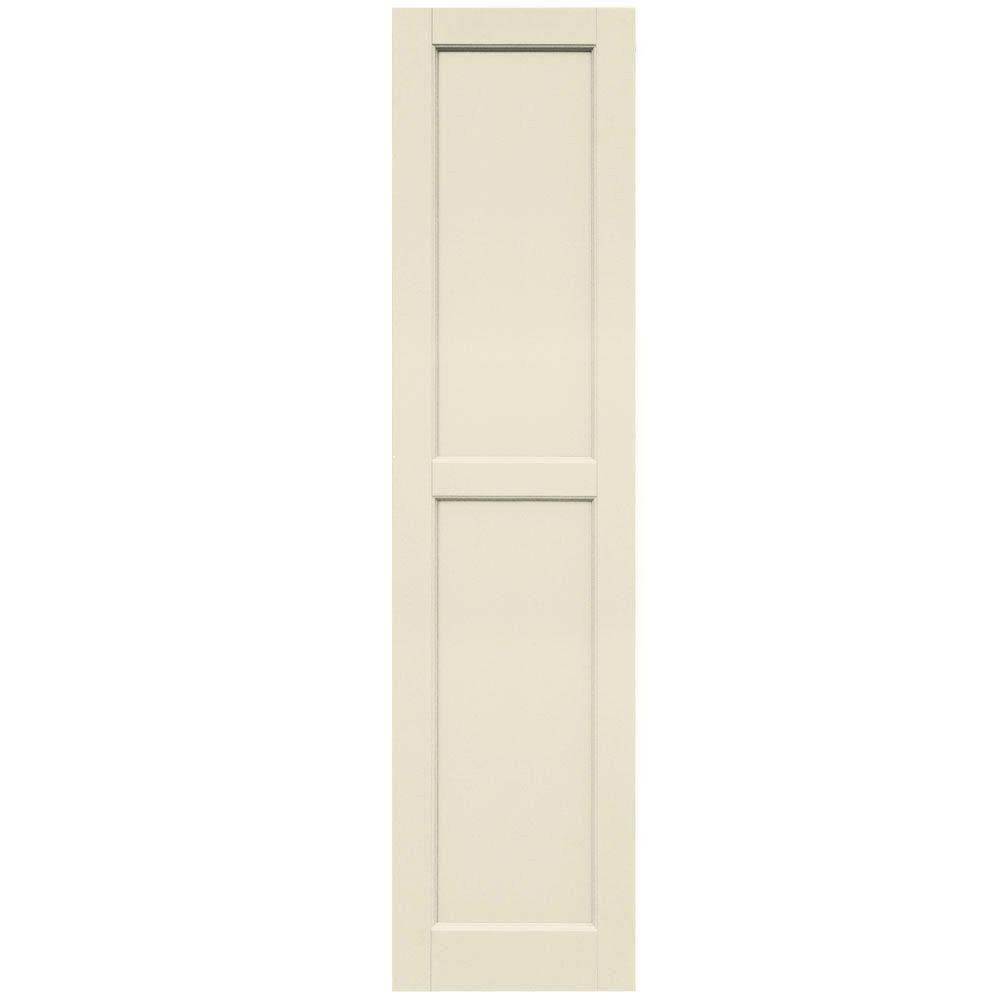 Winworks Wood Composite 15 in. x 61 in. Contemporary Flat Panel Shutters Pair #651 Primed/Paintable