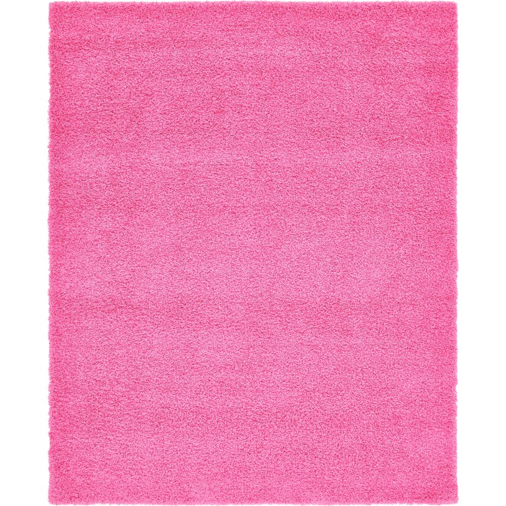 Unique Loom Solid Shag Taffy Pink 8 ft. x 10ft. Area Rug