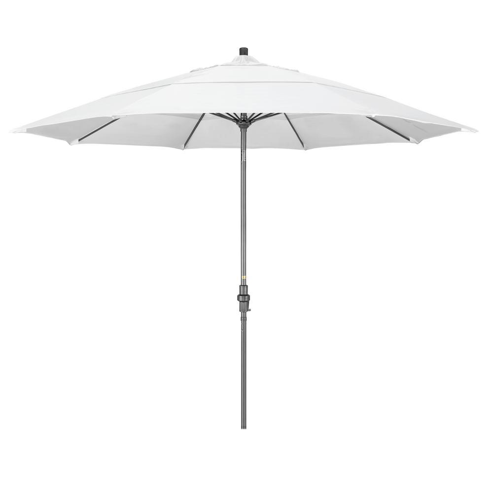 11 ft. Hammertone Grey Aluminum Market Patio Umbrella with Collar Tilt Crank Lift in Natural Sunbrella