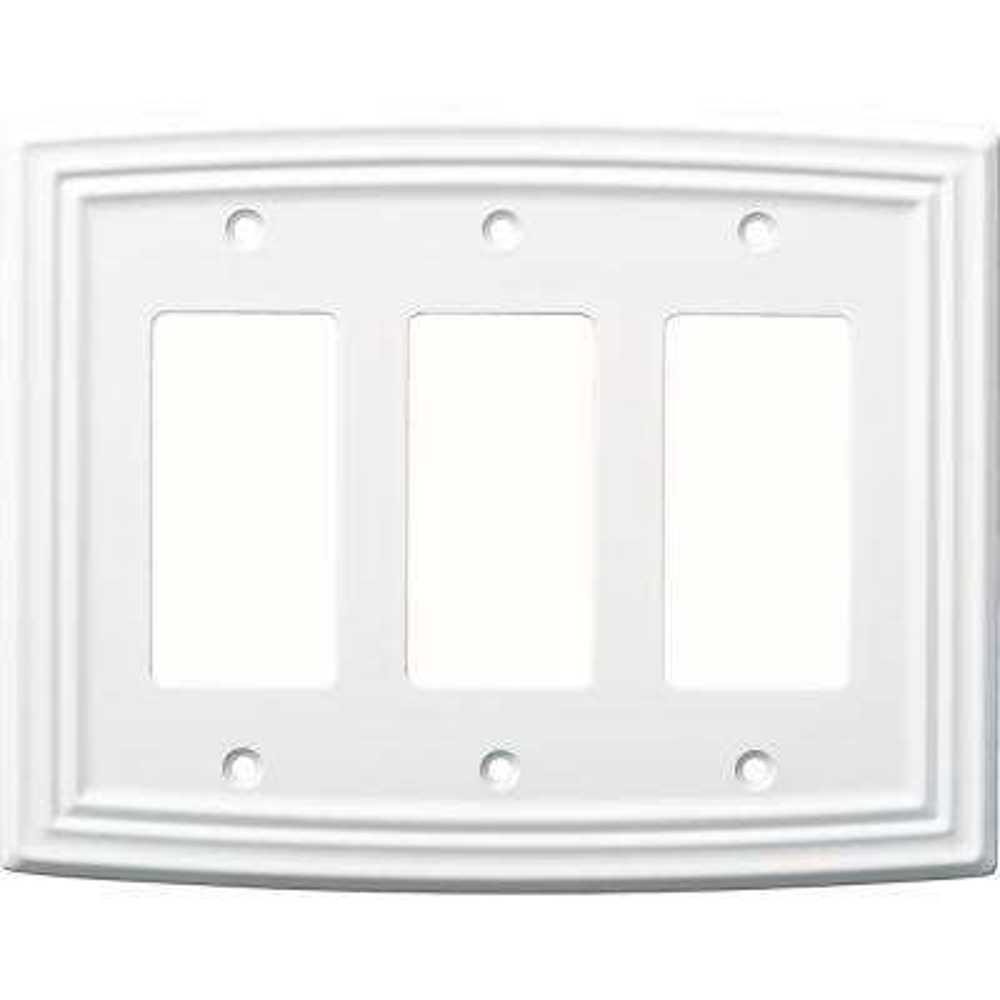 Emery Decorative Triple Rocker Switch Cover, Pure White
