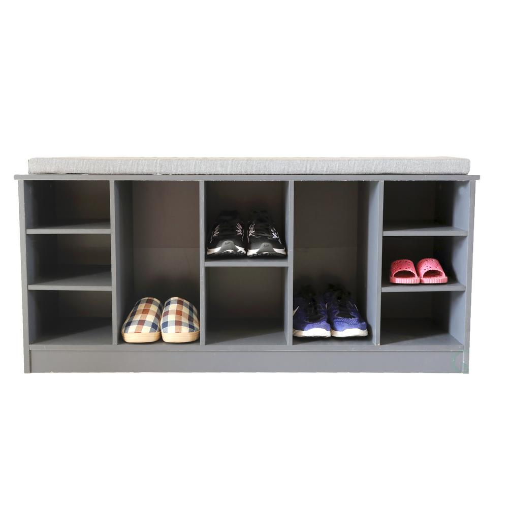 Basicwise Wooden Shoe Cubicle Storage Entryway Bench With Soft Cushion For Seating Shoe Storage
